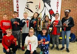 Bluffton Middle School children with award