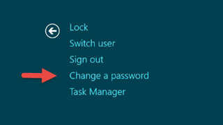 Arrow pointing to Change A Password